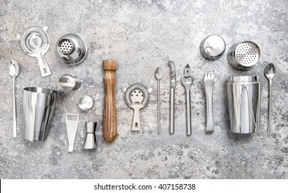 Bar tools for making cocktail. Shaker, jigger, strainer, spoon. Food and drinks