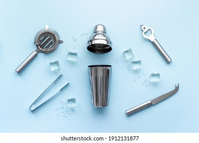 Bar tools and utensils for cocktail - with shaker, strainer and ice