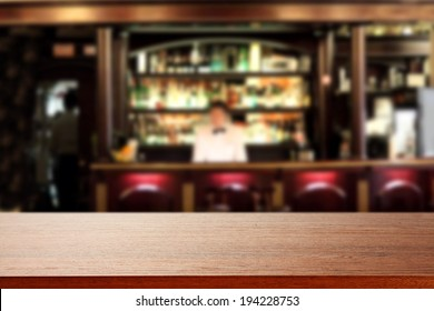 bar with waiter and brown free top
