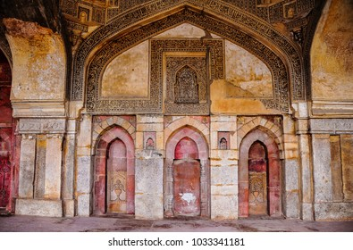 Bara Gumbad (big dome) mosque interior in the Lohdi Gardens, Delhi, India. Beautiful detail of the Mihrab, indicating the direction of Mecca, late 15th Century, built of red and yellow sandstone
