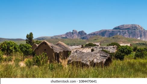 Bara village near Ihosy in the Ihorombe Region of central south Madagascar.