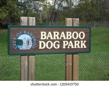 BARABOO, WISCONSIN / USA - October 10, 2013: Baraboo Dog Park sign at entrance