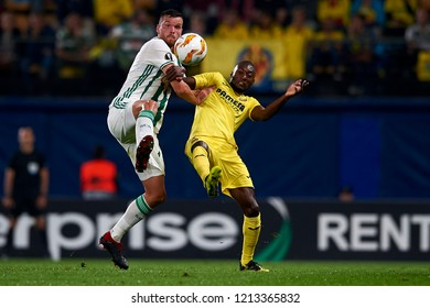 Barac of Rap Wien and Ekambi of Villarreal battle for the ball during the match of the Europa League between Villarreal CF and Rapid Wien at La Ceramica Stadium Villarreal, Spain on October 25, 2018