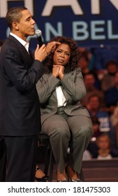 Barack Obama, Oprah Winfrey attending Barack Obama Campaign Rally for Democratic Presidential Primary with Oprah Winfrey, The Verizon Wireless Arena, Manchester, NH, December 09, 2007
