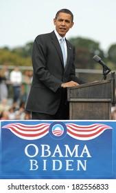 Barack Obama at a public appearance for Barack Obama Campaign Stop in Pennsylvania, Schwarzman Stadium at Abington High School, Abington, PA, October 03, 2008