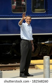 Barack Obama at a public appearance for Barack Obama Whistle Stop Tour in Pennsylvania, train station, Paoli, PA, April 19, 2008