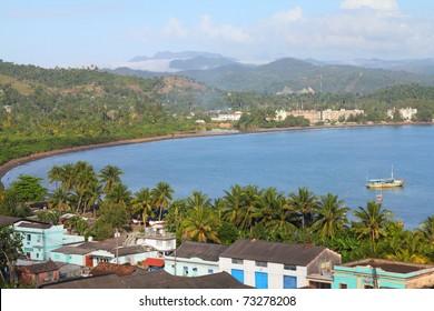 Baracoa, Cuba - aerial view of the sea bay