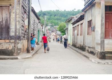 Baracoa / Cuba - June 18 2014: People on the streets of Baracoa, Cuba.