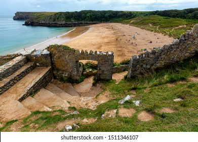 Barafundle Bay Wales. Overlooking the stunning beach at Barafundle Bay on the Pembrokeshire coast of South Wales UK Europe.