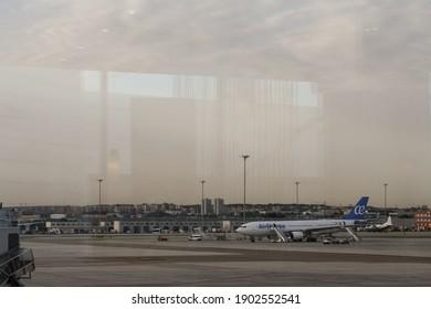 Barajas, Madrid, Spain; 07.17.2017: Aircraf at the Adolfo Suárez Madrid – Barajas Airport
