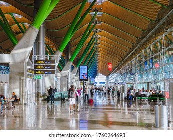 Barajas, Spain - October 27, 2017: Inside terminal 4 at Adolfo Suarez- Madrid- Barajas International Airport serving the city of Madrid, Spain