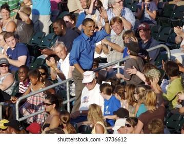 Barak Obama Waving at the Ballgame