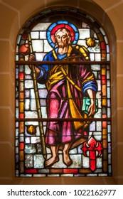 Barakaldo, Spain - February 5, 2018 - Stained glass window with Saint James with pilgrim