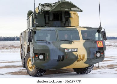 """BARANOVICHI, BELARUS - FEBRUARY 10, 2015: Tor, an all-weather low to medium altitude, short-range surface-to-air missile system,  known by its NATO name SA-15 """"Gauntlet"""", with a plate of Belarus"""