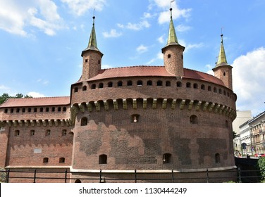 Barbacan fortress in town Cracow in Poland