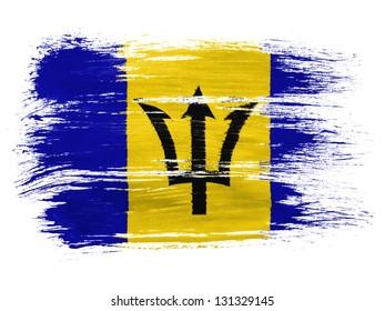Barbados. Barbadian flag on white background