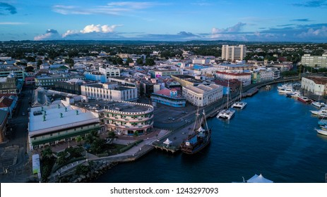 Barbados, Bridgetown - October 22, 2018: Aerial View to the Bridgetown with the Blue Water