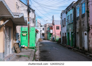 Barbados, Bridgetown - October 26, 2018: Empty Streets with the Green House of the Caribbean Capital