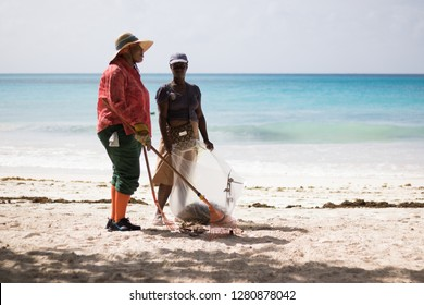 Barbados / Caribbean Island – 01/30/2018: two women are cleaning a nice sandy beach near a blue sea on a sunny morning.