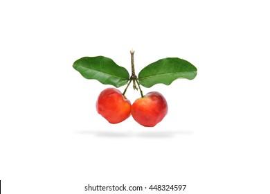 Barbados cherry fruit isolated on white background.