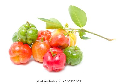 Barbados cherry isolated on white.