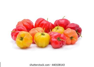 Barbados cherry,Ripe thai cherry on white