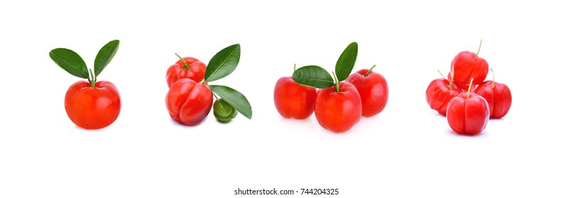 Barbados cherry,Ripe thai cherry on white background Collection.