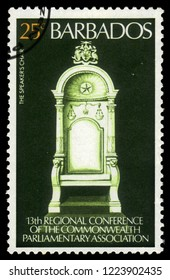 BARBADOS - CIRCA 1977: A stamp printed in Barbados shows Speakers Chair, the chair is made of teak from Central India, devoted to 13th regional conference of the commonwealth parliamentary association