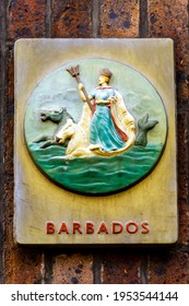 Barbados' colonial seal first depicted in 1663; showing Neptune riding a chariot drawn by seahorses while holding a Trident; as still displayed in London
