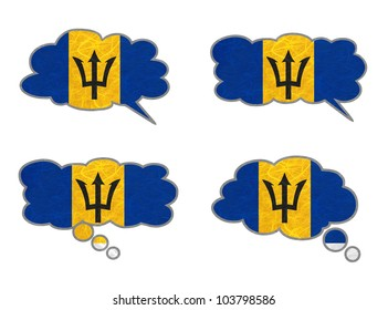 Barbados Flag. Dialog box recycled paper on white background.