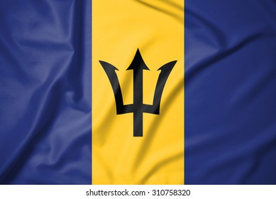 Barbados flag on soft and smooth silk texture