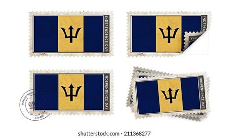 barbados  flag on stamp independence day set