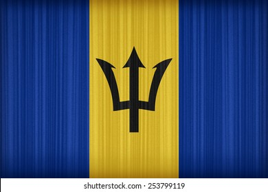Barbados flag pattern on the fabric curtain,vintage style