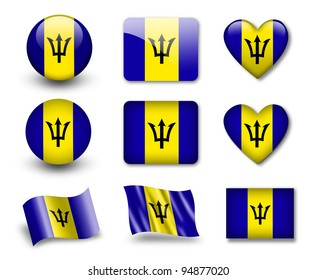 The Barbados flag - set of icons and flags. glossy and matte on a white background.