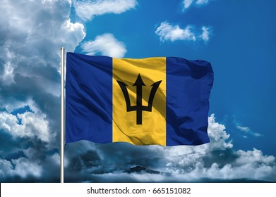 Barbados flag with sky background