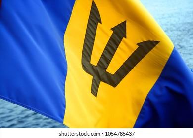 Barbados flag waving by the sea