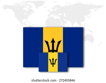 Barbados flag and world map background