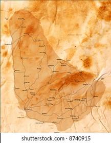 barbados, old grunge map