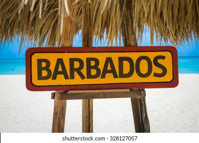 Barbados sign with beach background