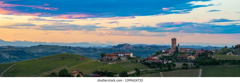 Barbaresco town view on sunset light. Vineyards from Langhe region,Italy agriculture. Unesco world heritage site. Piedmont Italy