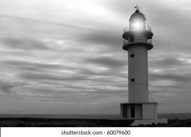 Barbaria cape lighthouse Formentera Balearic islands black and white