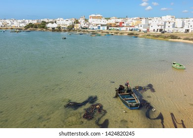 Barbate, Cadiz / Spain. September 16. 2017. Old historic Barbate town seen across the Barbate River