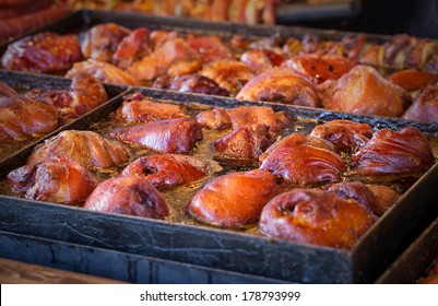 Barbecue BBQ food frying in a pan with oil. Fast food
