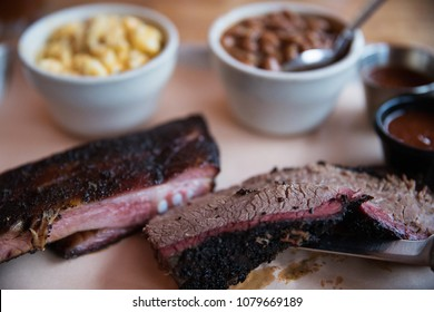 Barbecue beef brisket and pork ribs
