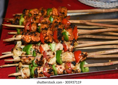 Barbecue Beef Kebabs On The Hot Grill