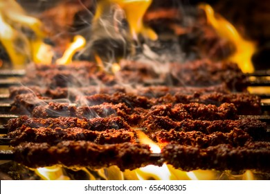 Barbecue Beef Kebabs On The Hot Grill Close-up. Flames of Fire In The Background