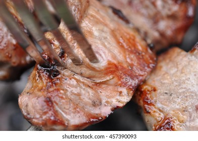 Barbecue Beef Meat Kebabs with Spice And Fork, Macro