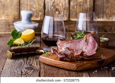 Barbecue bone ribeye steak on cutting board ready to eat, delisious dinner with wine