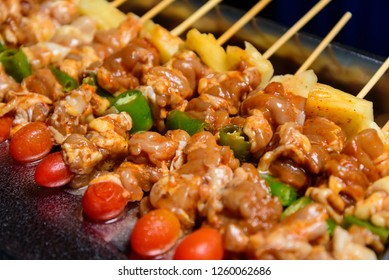barbecue chicken meat with vegetables