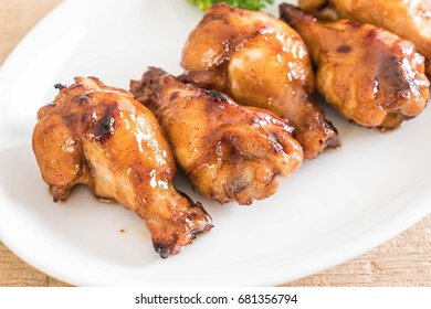 barbecue chicken wings - selective focus point